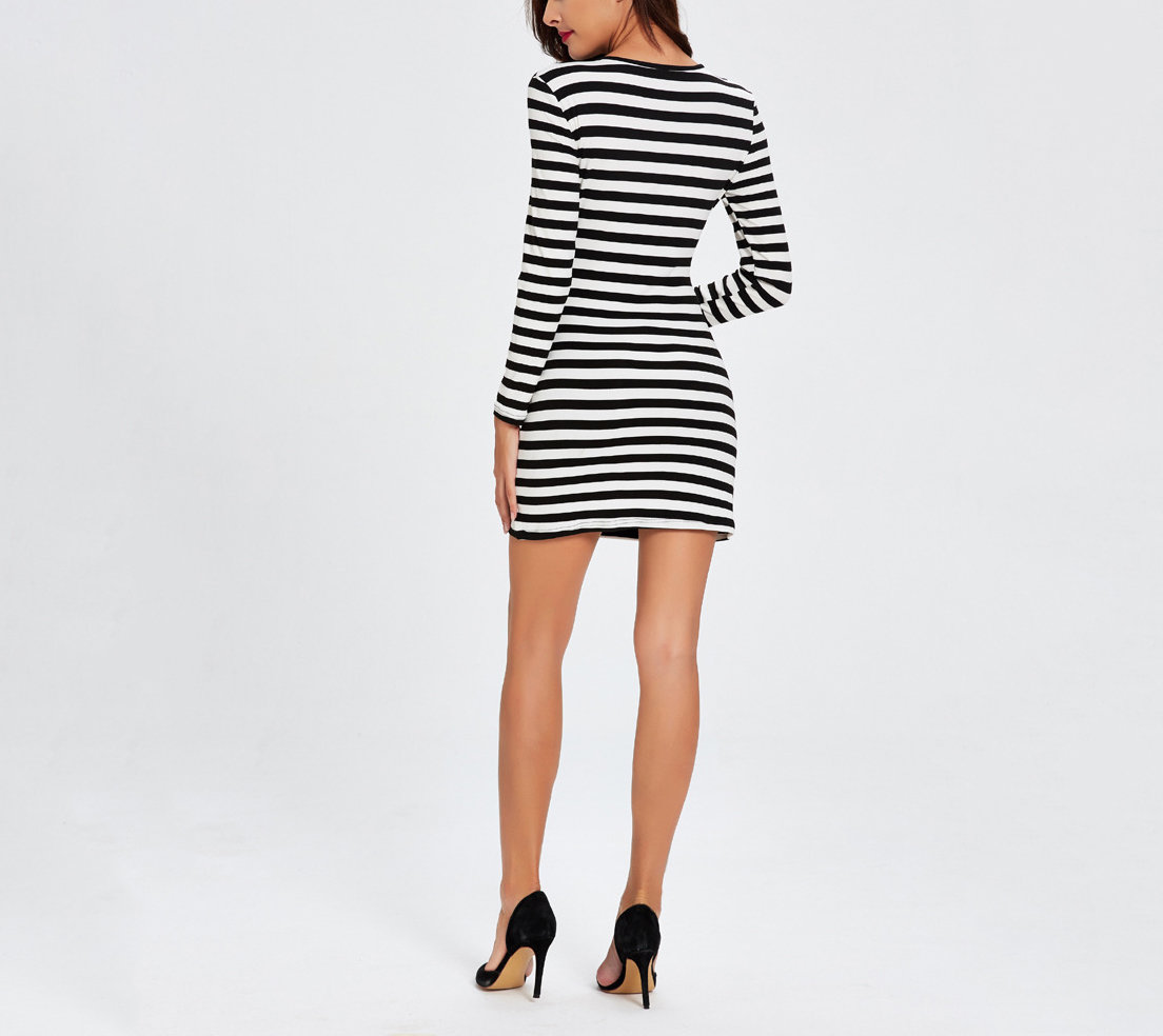Knit Club Dress with Deep V-Neckline Lattice Front