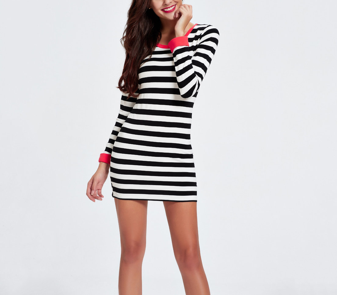 Knit Casual Dress with Contrasting Cuffs