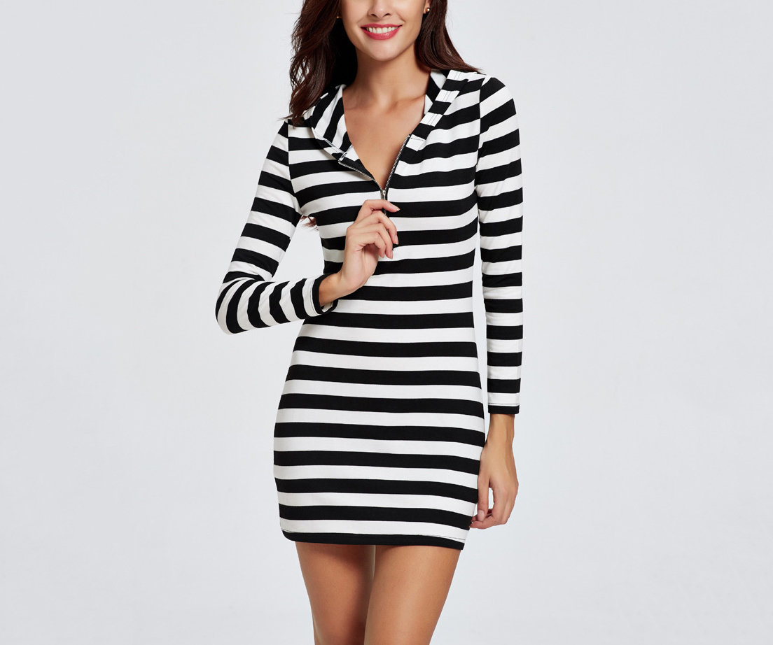 Sporty Striped Casual Dress with Hood