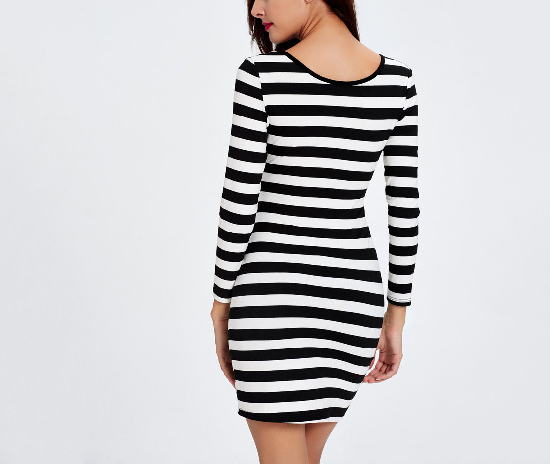 Reversible Striped Club Dress with Bandage Styling