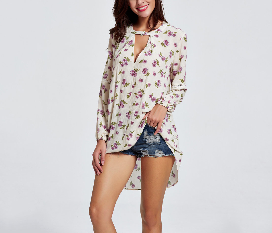 Loose Tunic Top in Synthetic Cotton Floral