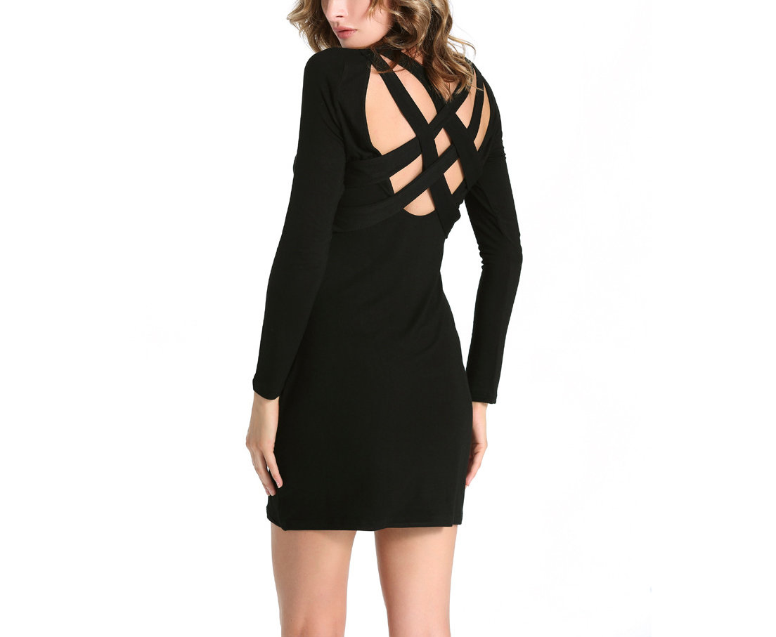 Knit Cocktail Dress with Bandage Strap Back
