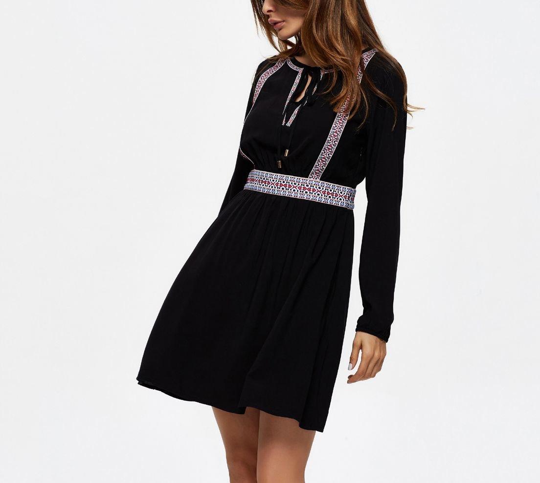Braid-Trimmed Boho Casual Dress