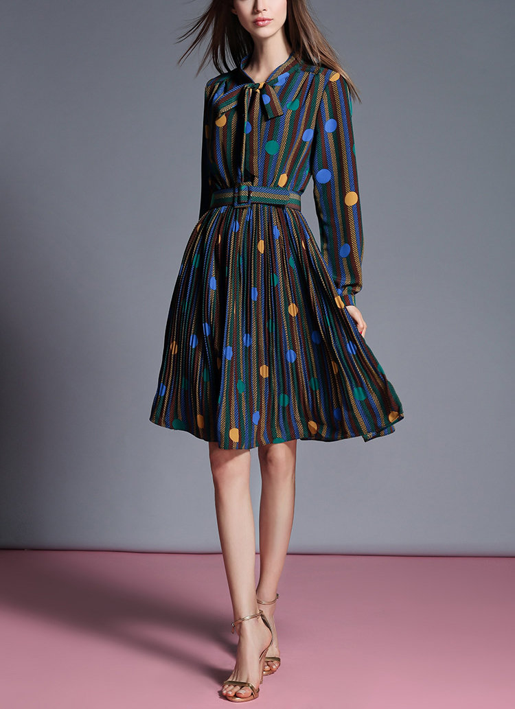 Career Work Dress in High Quality Patterned Fabric