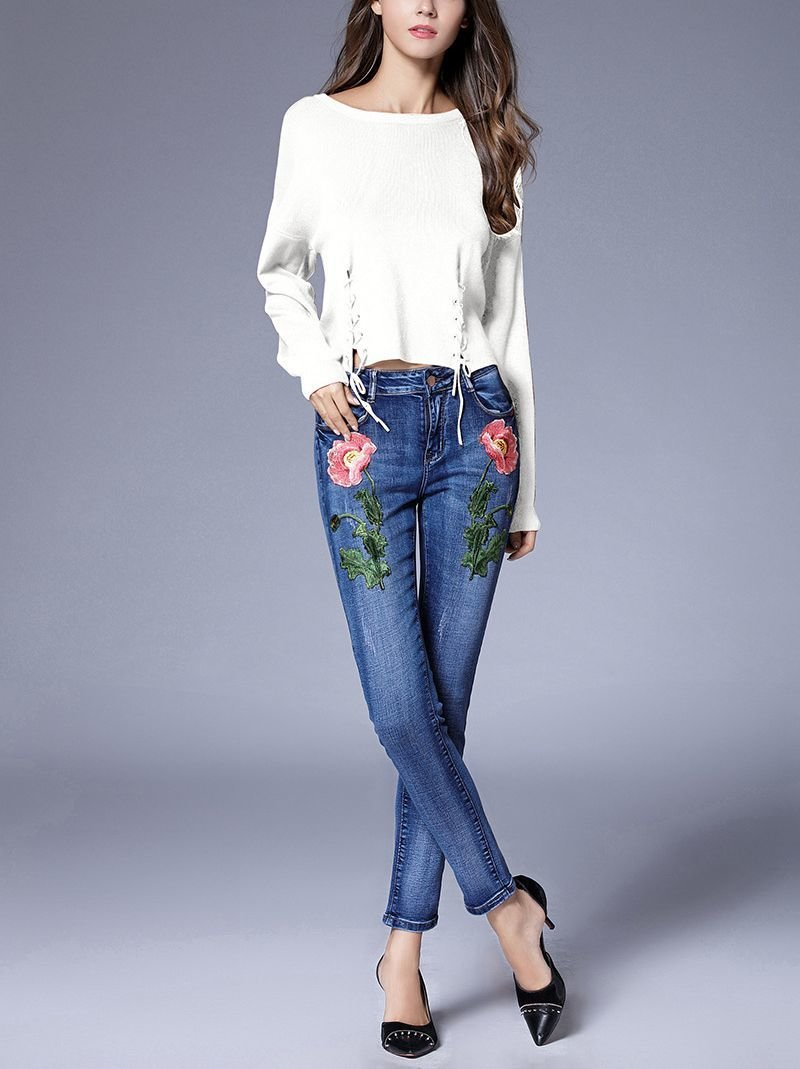Knit Top with Waist Slashes and Lacing
