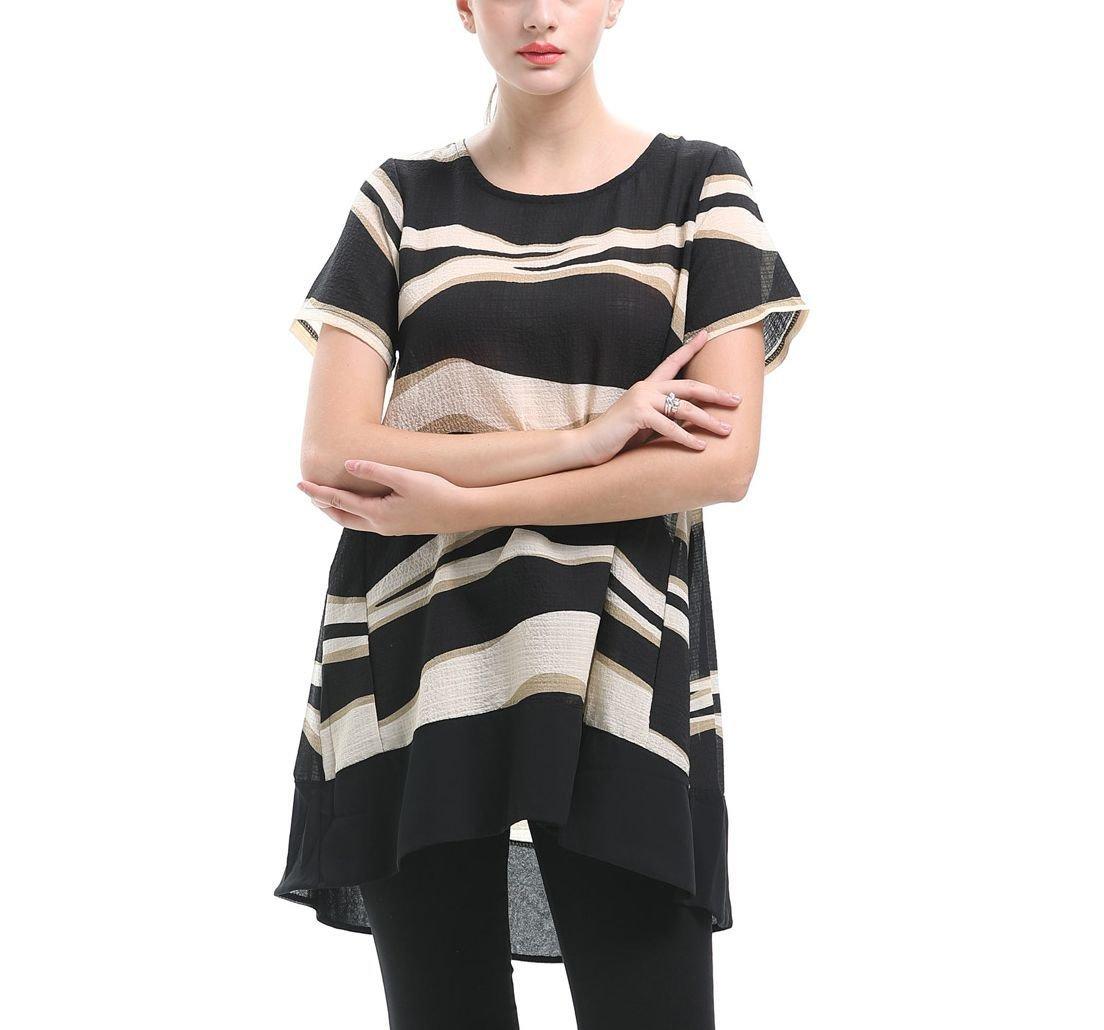 Chiffon Tee Top with Wavy Stripes