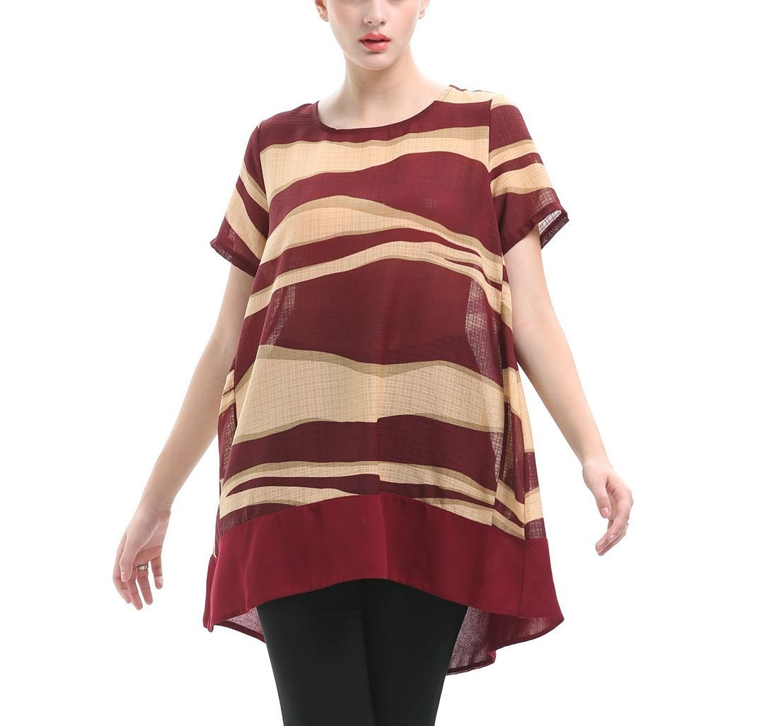Chiffon Tee Top with Wavy Stripes