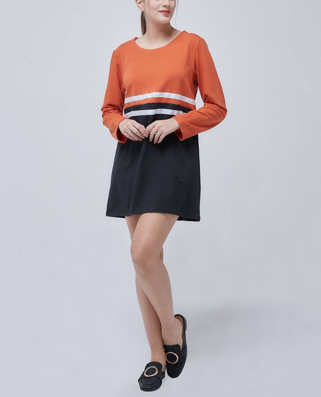 Large Size Top with Sporty Stripes
