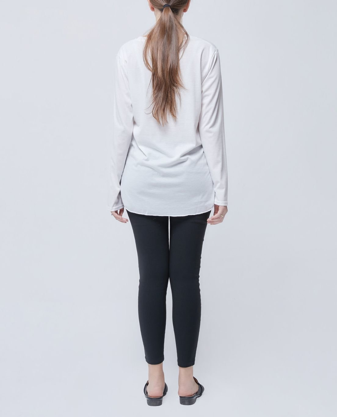 Long-Sleeved Cotton Tee with Shaped Hem