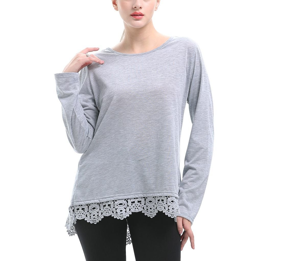 Large Size Knit Top with Wide Lace Hem