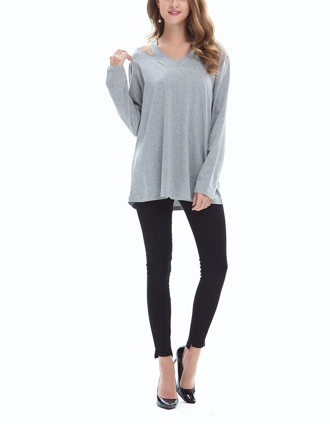 Large Size Tee with Slashed Neckline Detail