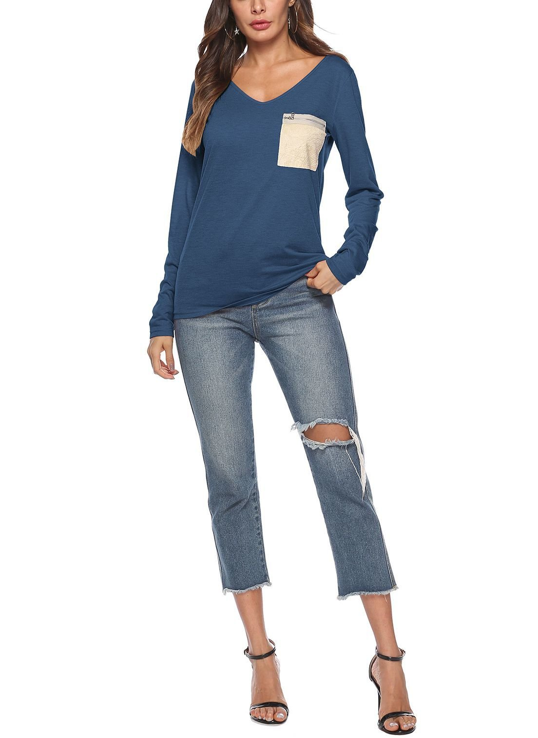 V-Neck Tee with Long Sleeves and Zipped Pocket