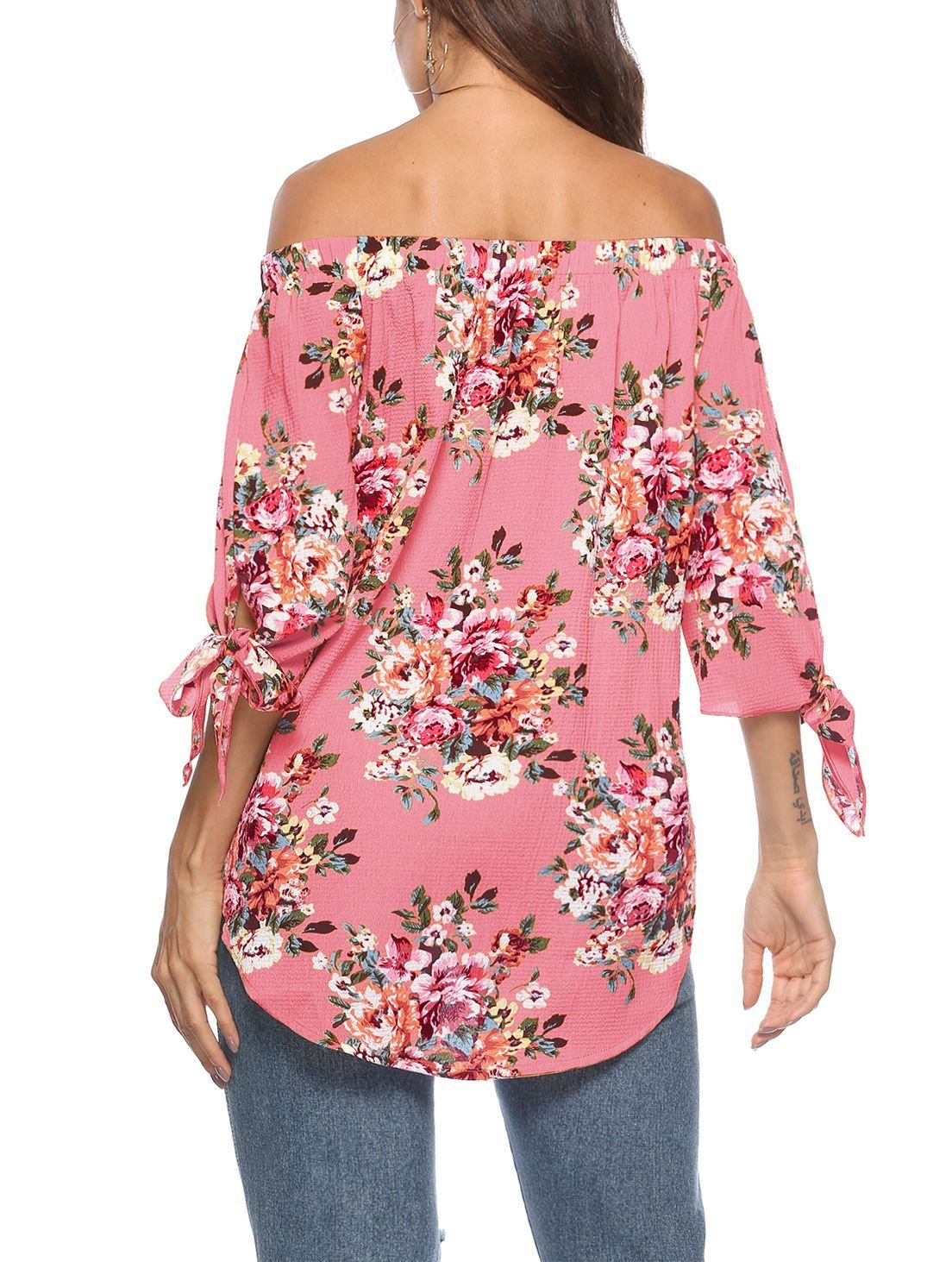 Off-Shoulder Chiffon Top with Tied ¾ Sleeves