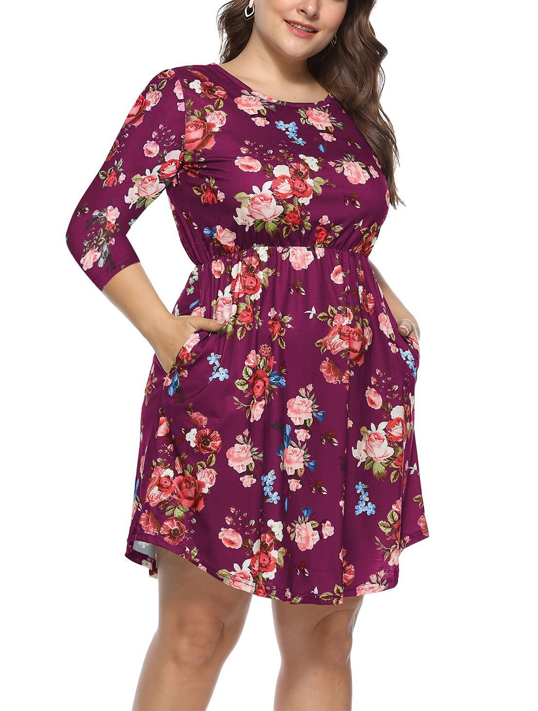 Plus Size Casual Dress with Elastic Empire Waist
