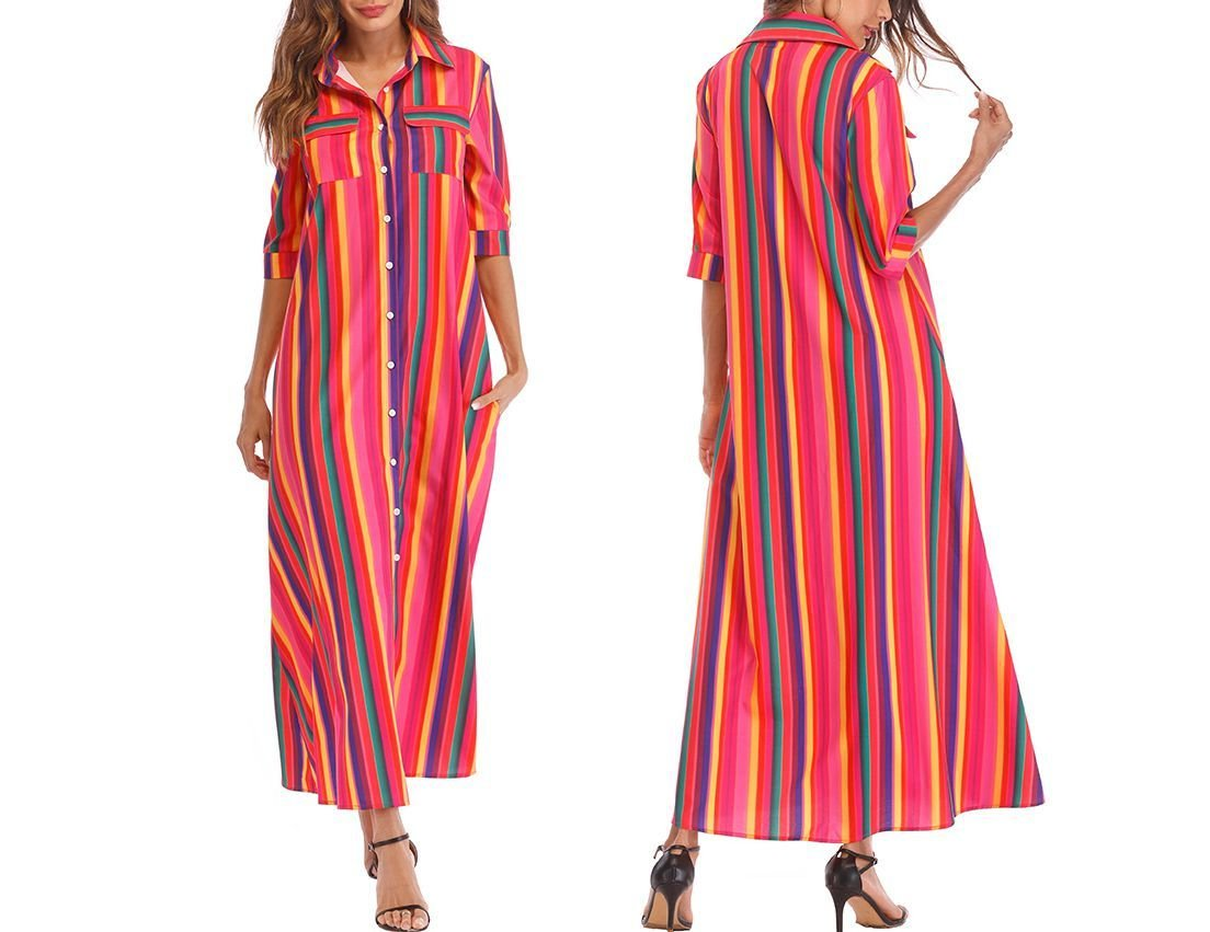Maxi Casual Dress with Shirt Styling
