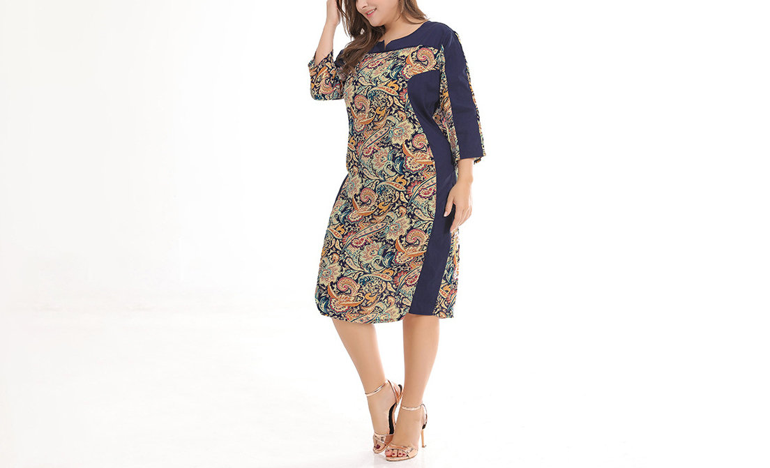 Plus Size Work Dress in Two Fabrics