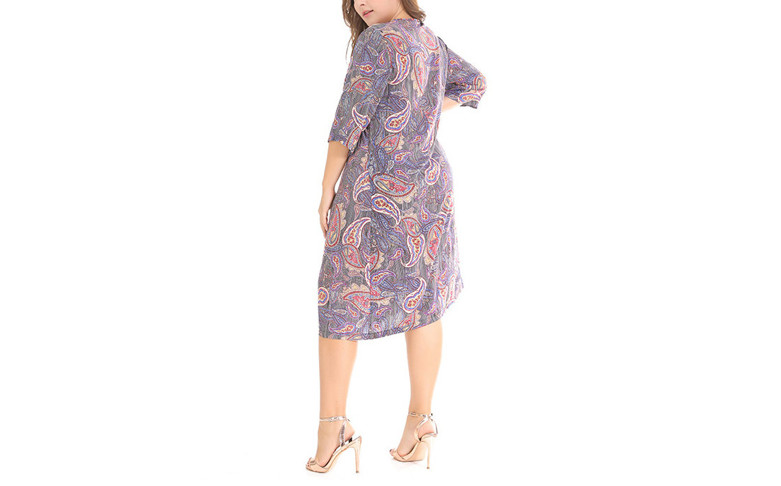 Paisley Print Casual Dress with ¾ Sleeves