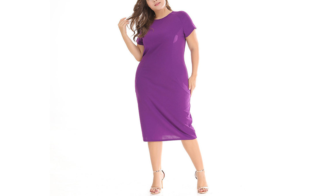 Plus Size Short-Sleeved Dress for Work