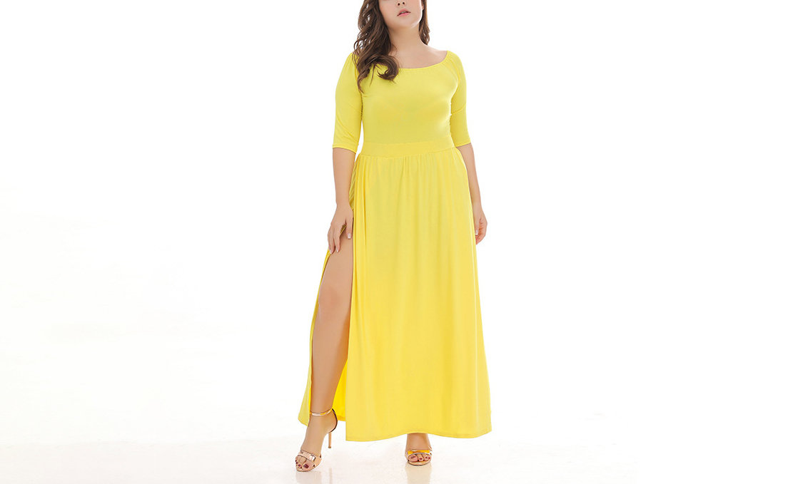 Plus Size Formal Dress with Wide Portrait Neckline