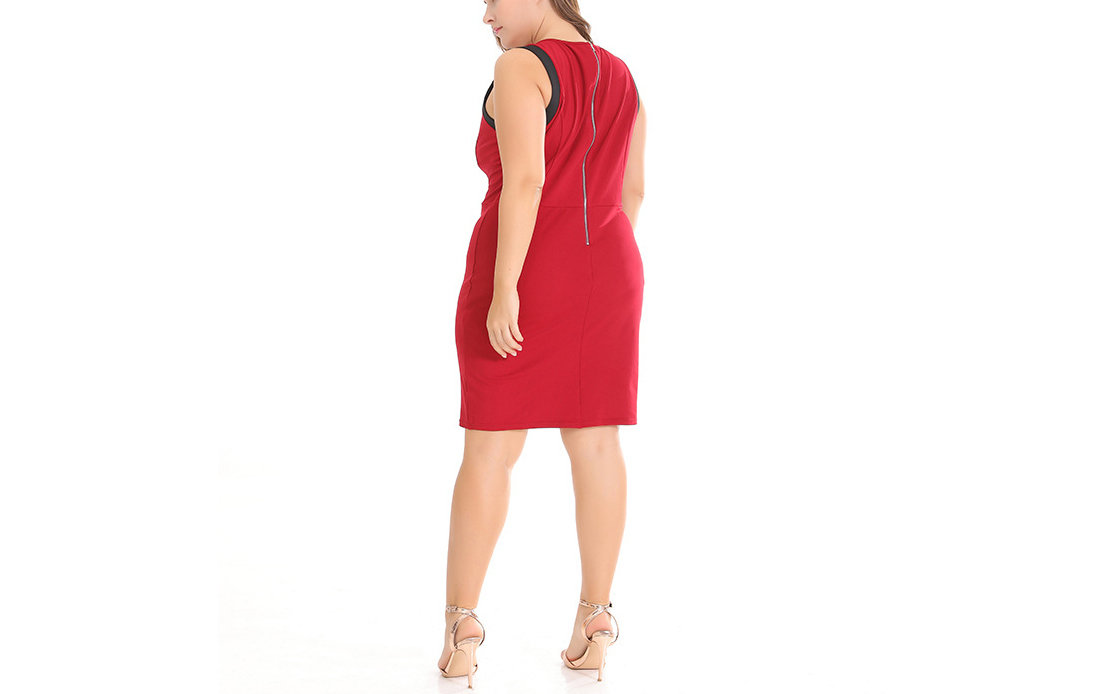 Sleeveless Casual Dress with Exposed Decorative Back Zipper