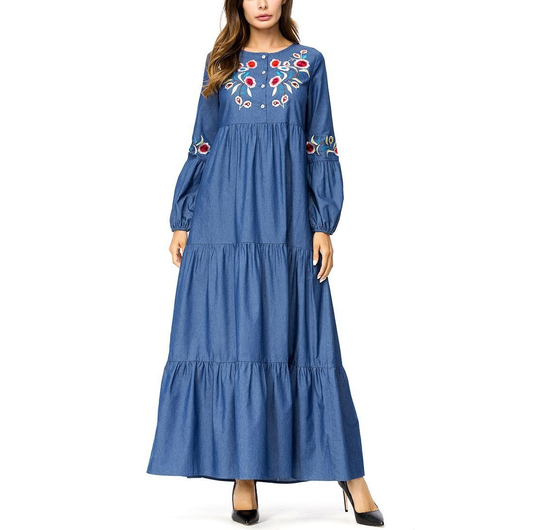 Embroidered Denim Casual Dress with Tiered Maxi Skirt