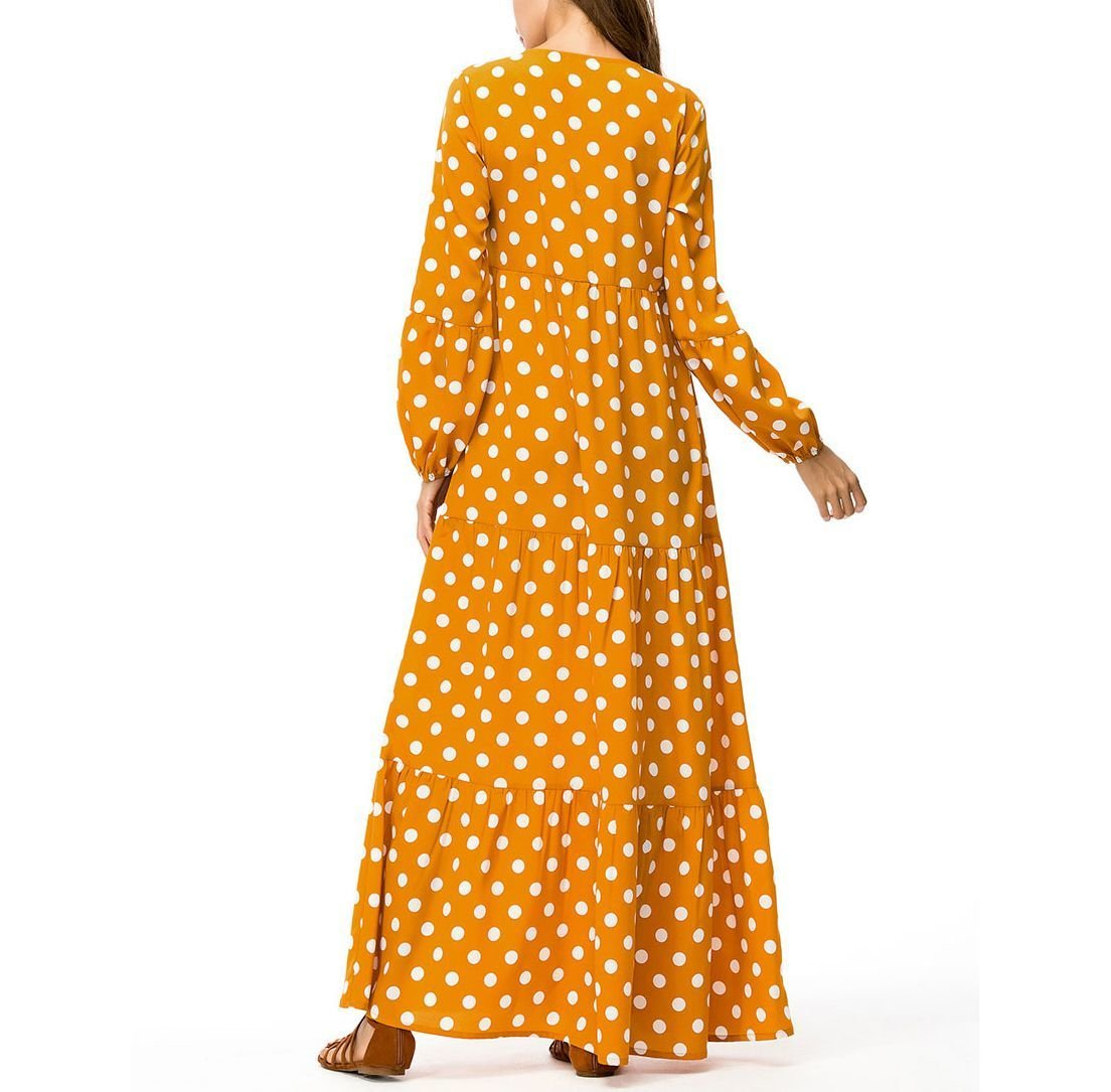 Polka Dot Casual Dress with Tiered Maxi Skirt