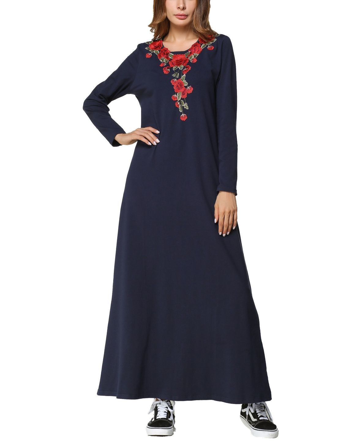 Maxi Casual Dress with Beautiful Front Embroidery