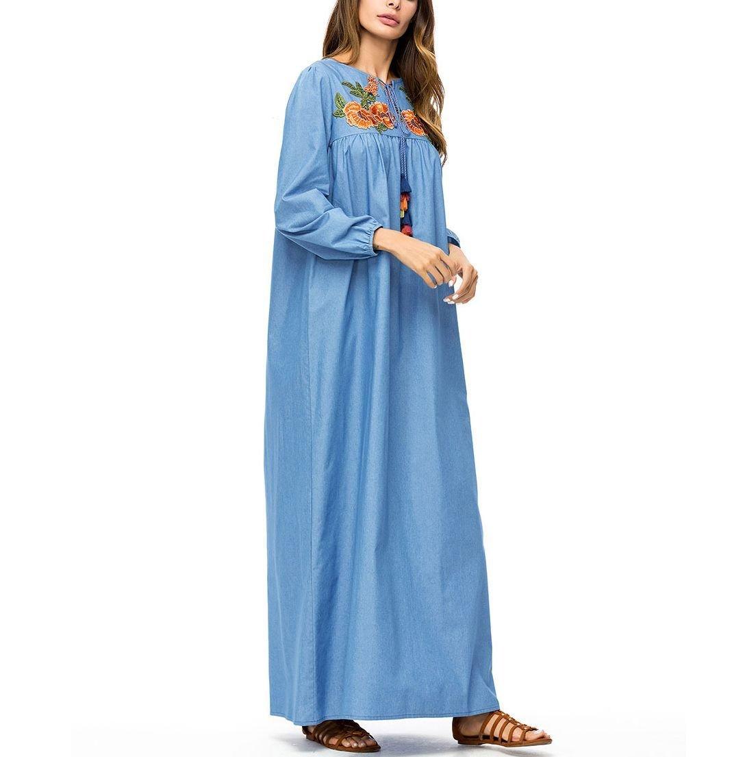 Loose Denim Casual Dress in Maxi Length