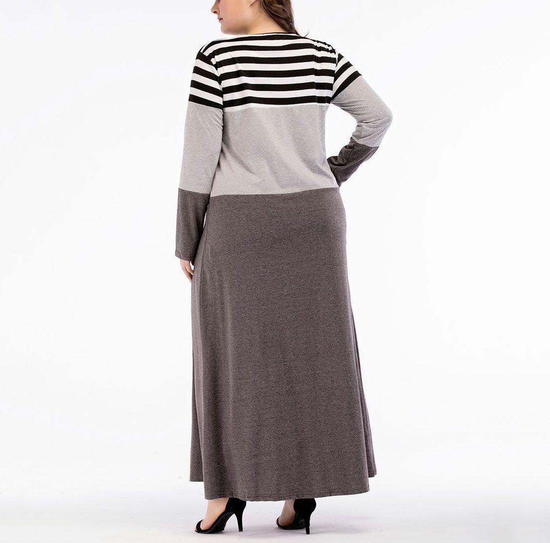 Color Blocked Knit Maxi Casual Dress