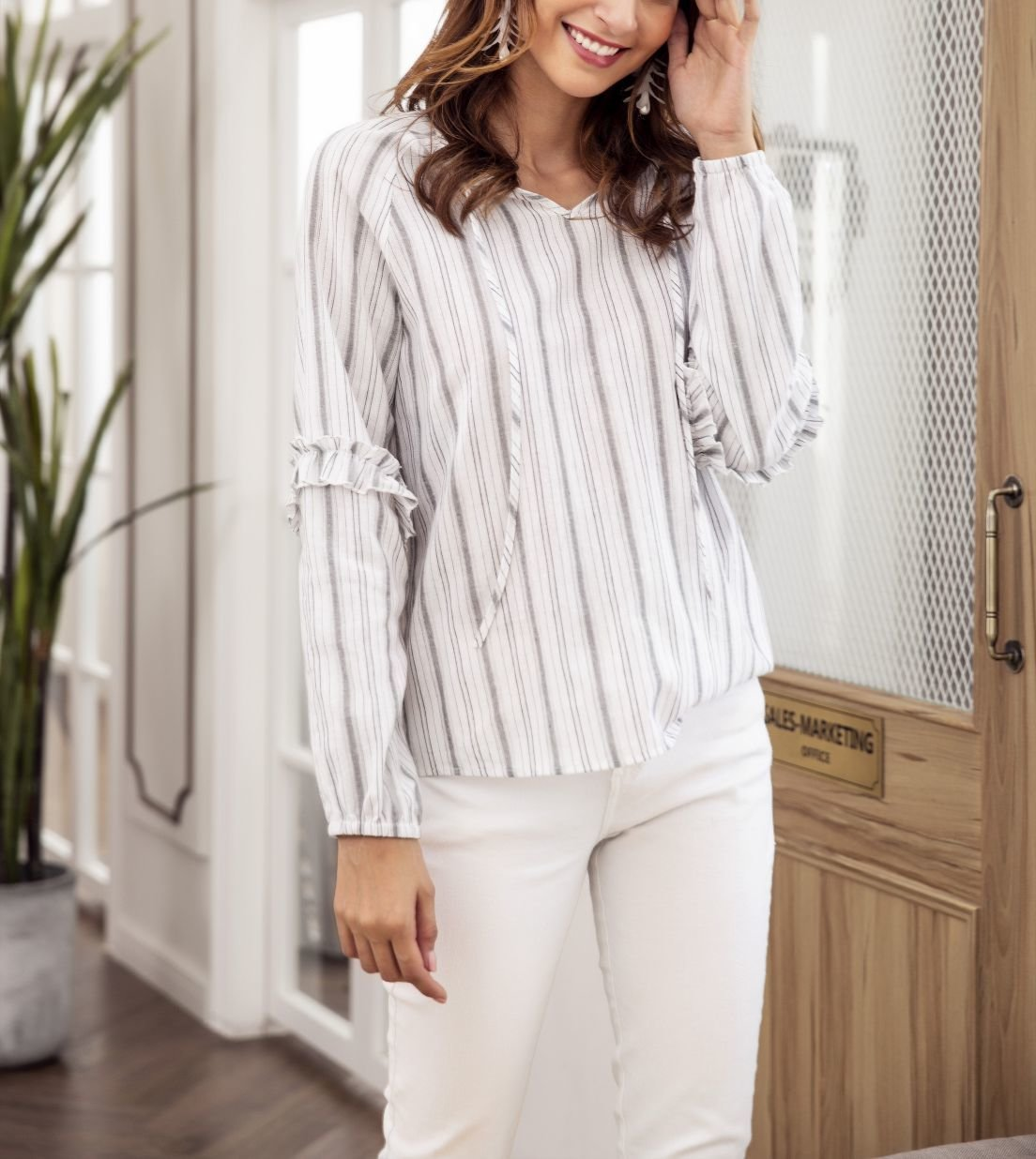 Long-Sleeved Peasant Top with Tie at Neck
