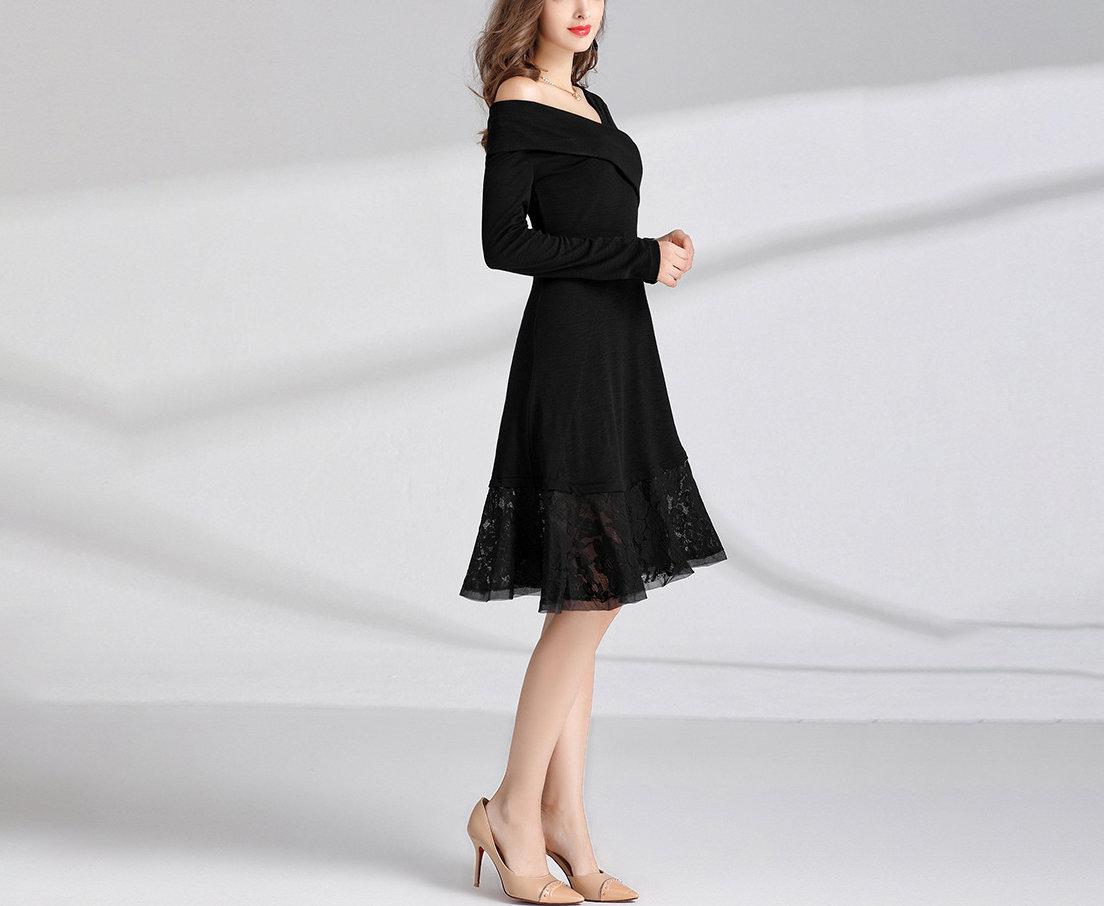 Plus Size Cocktail Dress with Asymmetrical Neckline