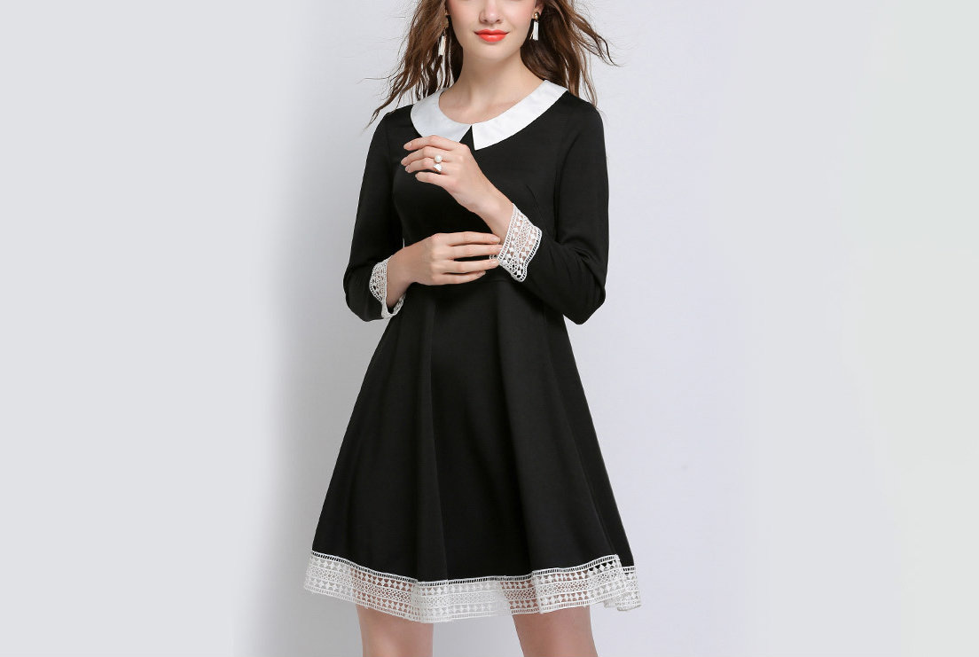 Tailored Work Dress with Lace Cuffs and Collar
