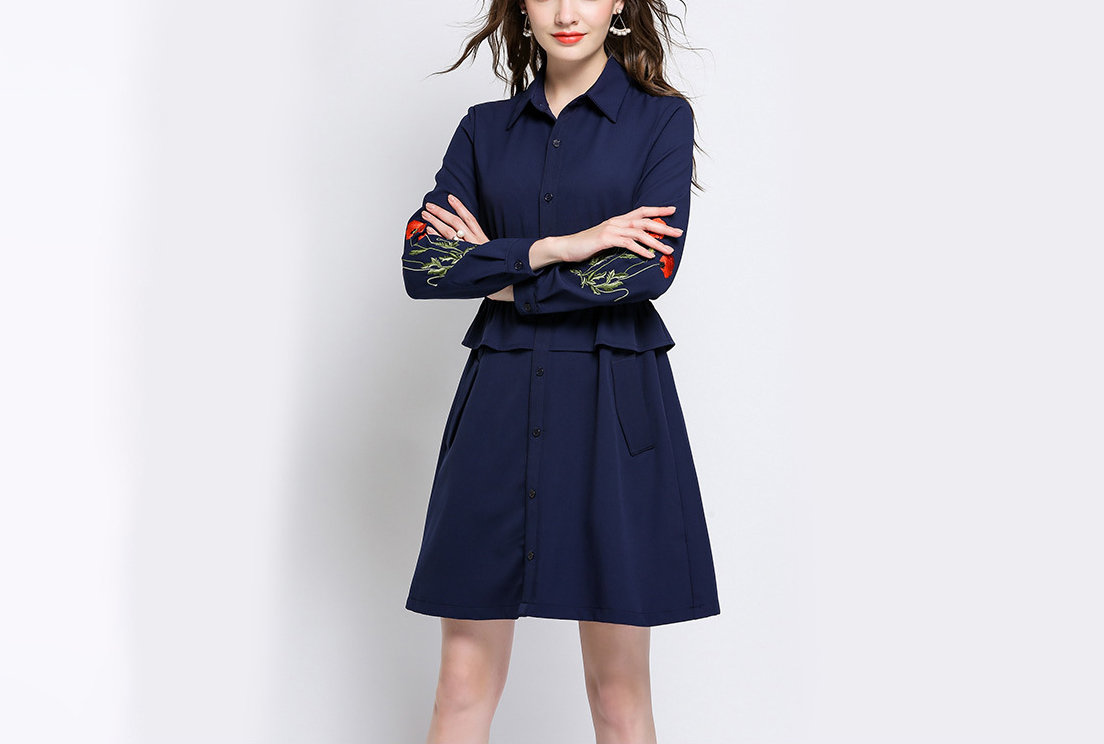 Button-Front Casual Dress with Peplum and Pockets