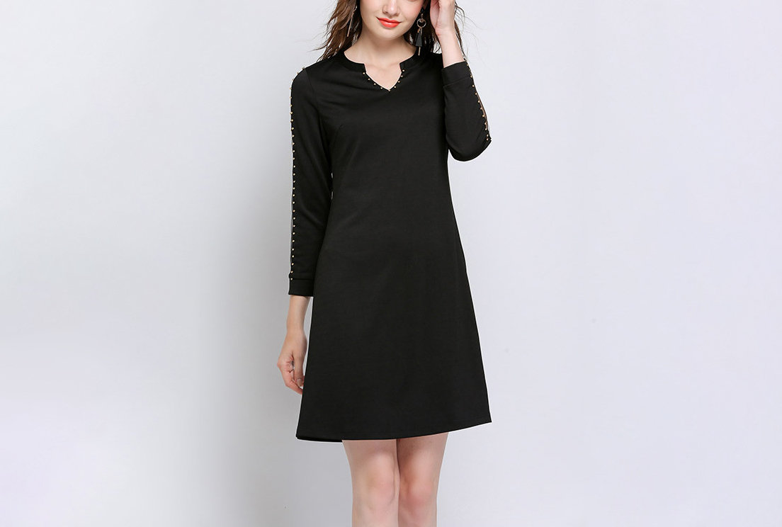 Club Dress with Sheer Sleeve Inserts and Studded Trim