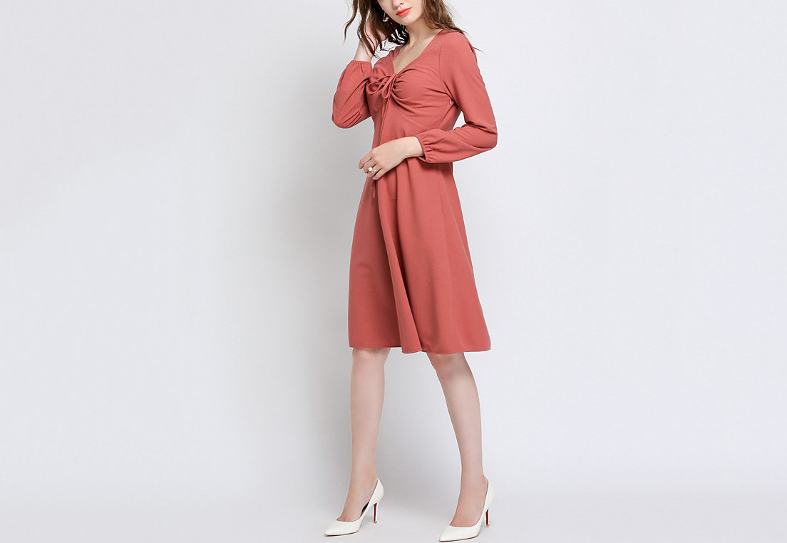 Cocktail Dress with Elegant Neckline and Gathered Bodice
