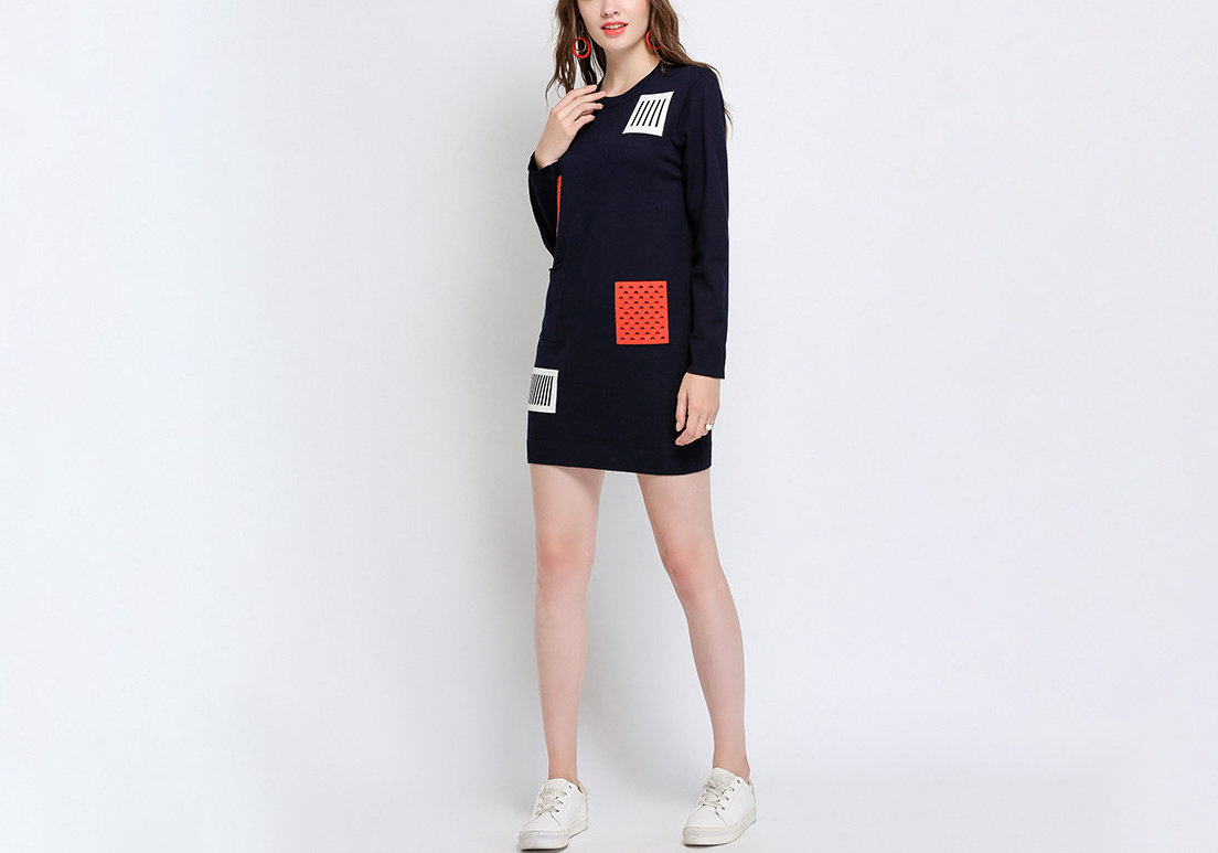 Mini Casual Dress with Pocket in Plus Sizes