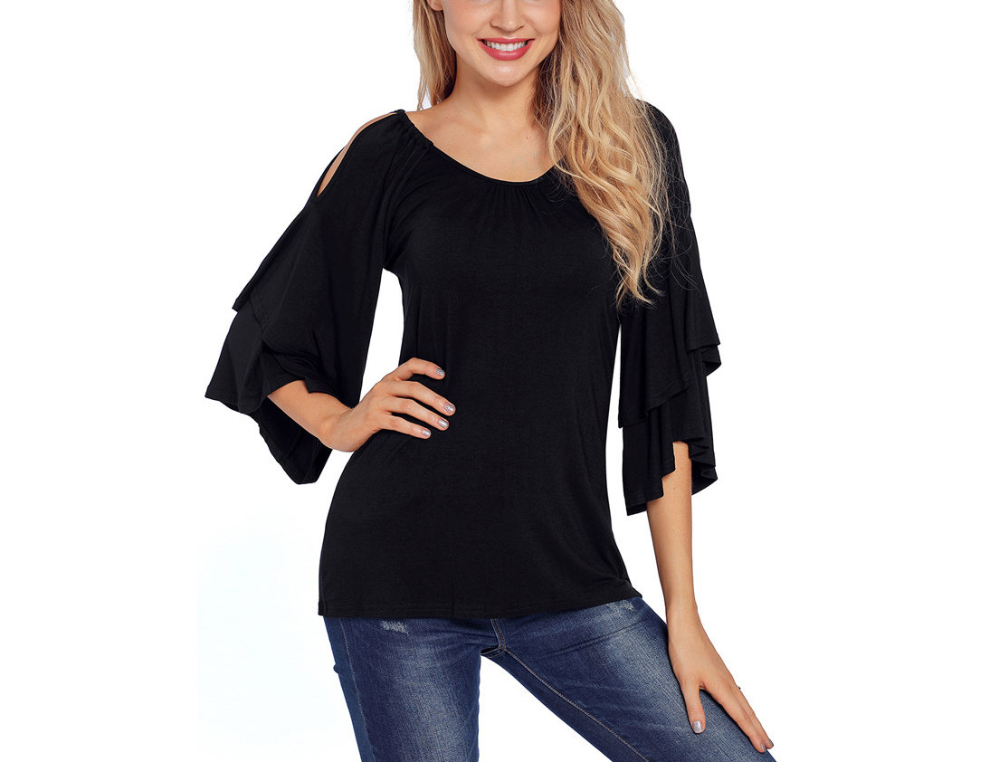 Knit Top with Flared Sleeves and Open Shoulders