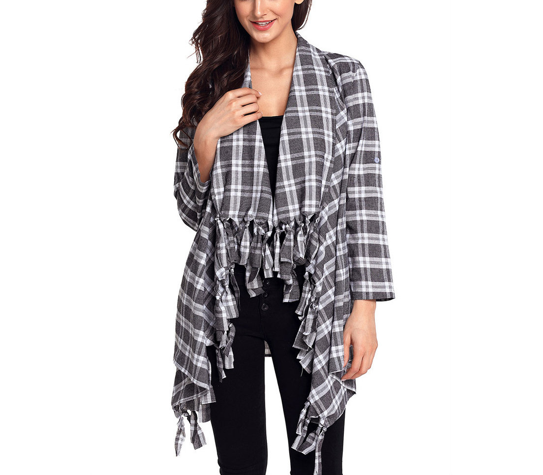Plaid Cardigan Top with Knotted Fringe