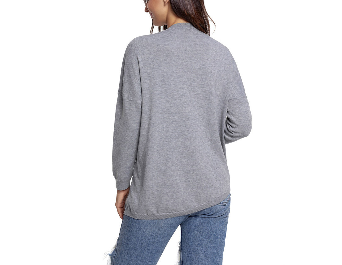 Pullover Sweater with Eyelet Trim and Lacing