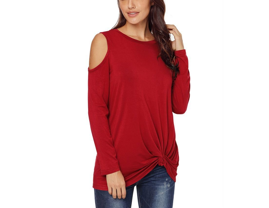 Cold Shoulder Knit Top with Long Sleeves and Twisted Hem Detail