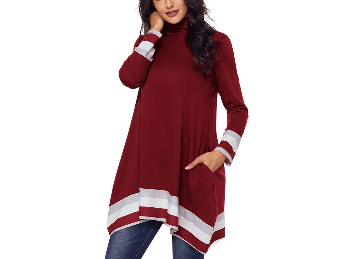 Mock Turtleneck Tunic Top with Stripes and Pockets