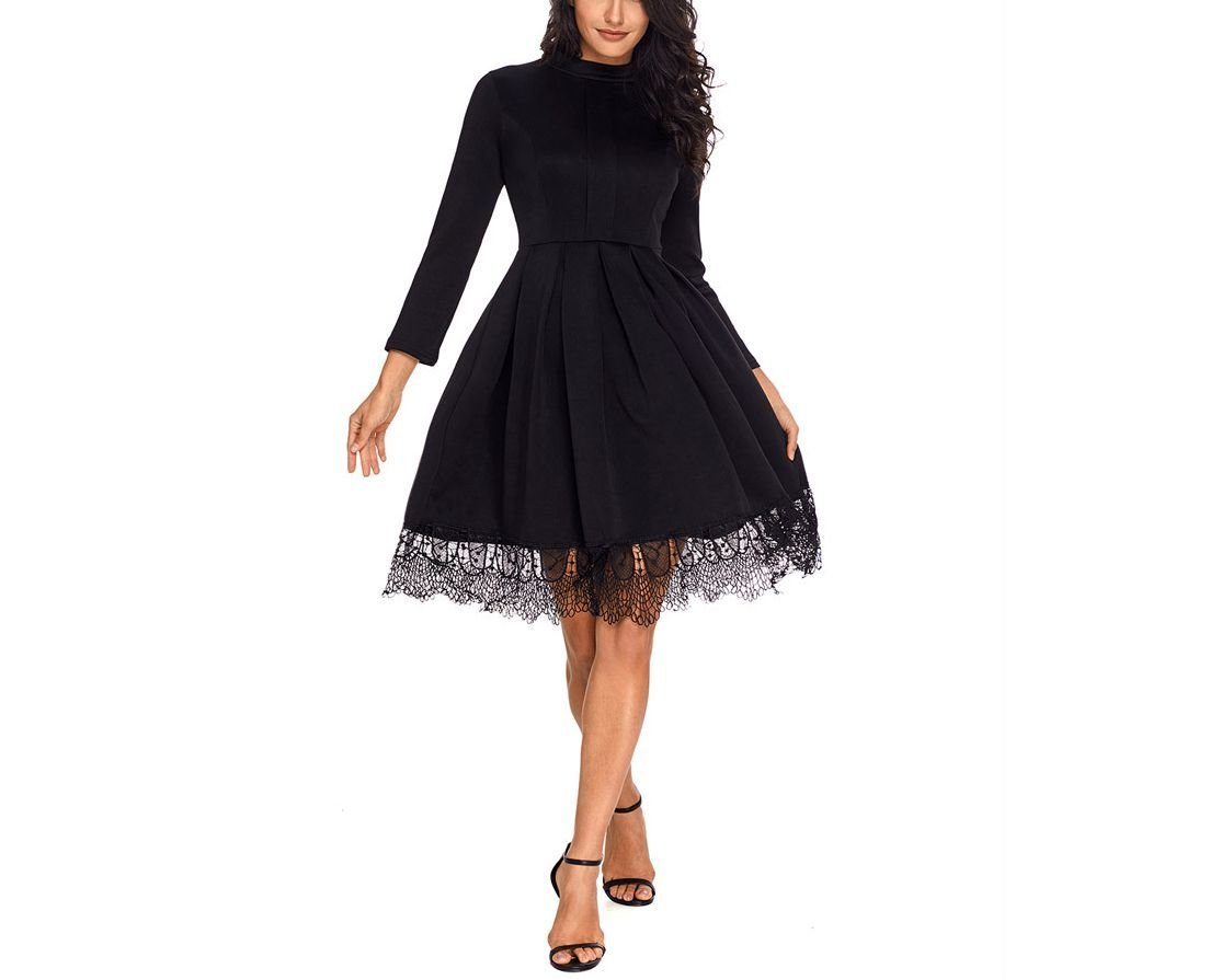 Formal Dress with Short Pleated Skirt and Delicate Lace