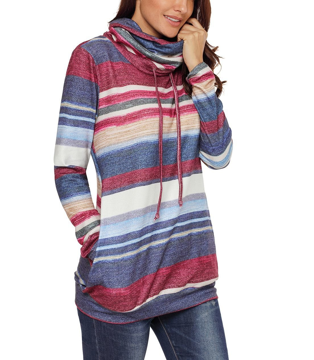Large Size Top with Drawstring Cowl Neck