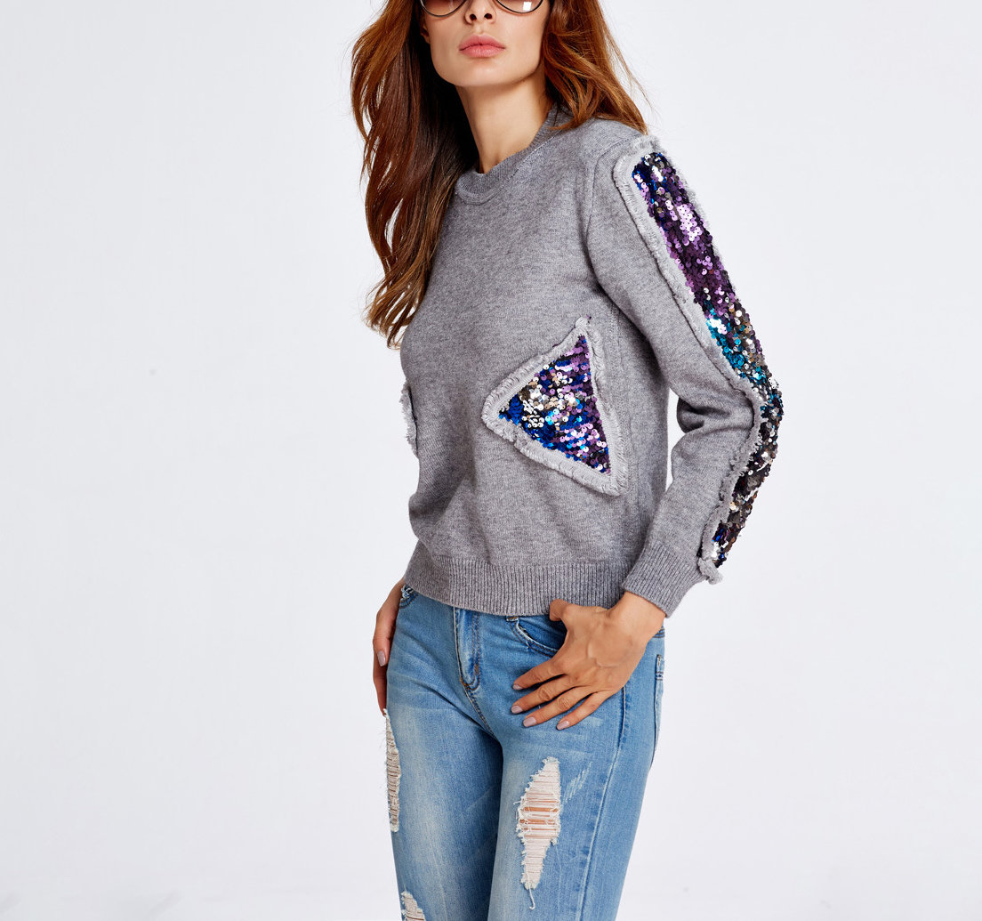 Pullover Sweater with Sequin Trim