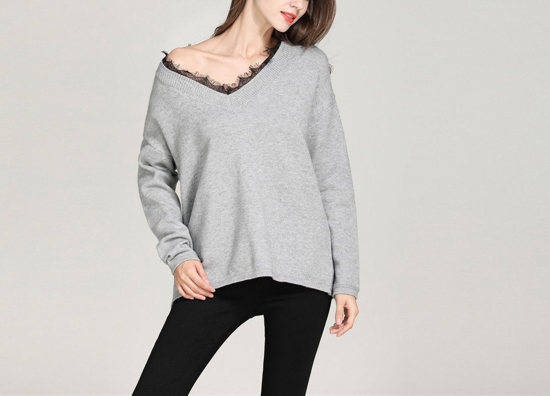 Sweater with Oversize Fit and Lace-Trimmed Neckline