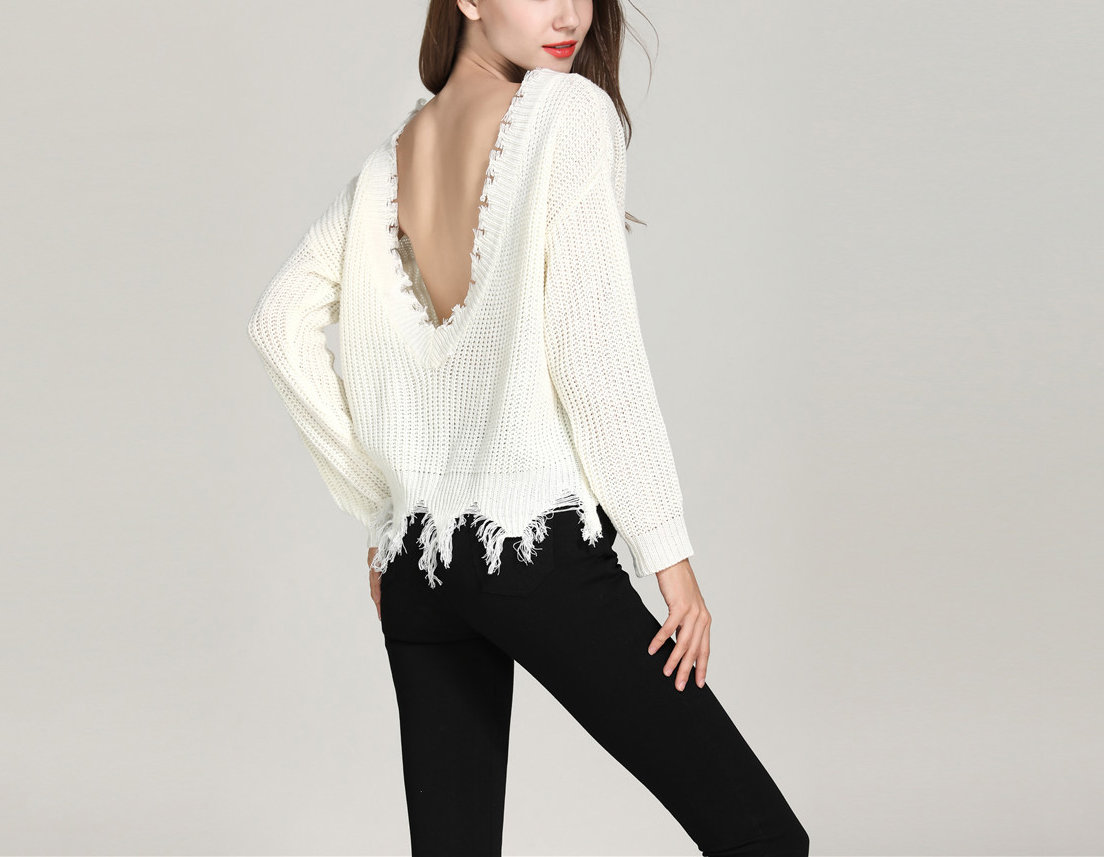 Knit Sweater with Distressed Edges