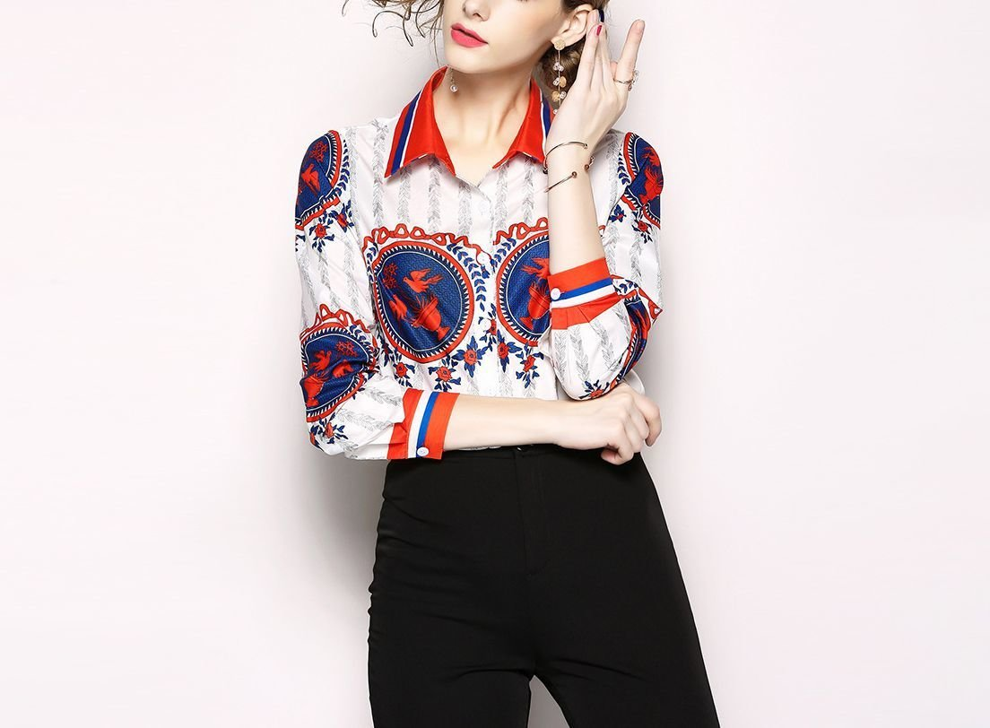 Bright Print Top with Classic Shirt Styling