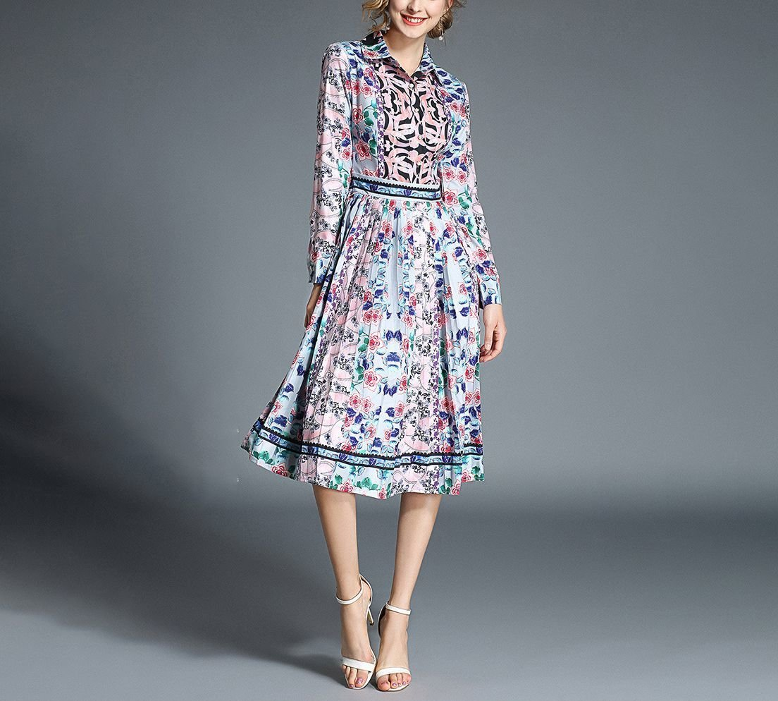 Floral Work Dress with Lovely Pleated Skirt