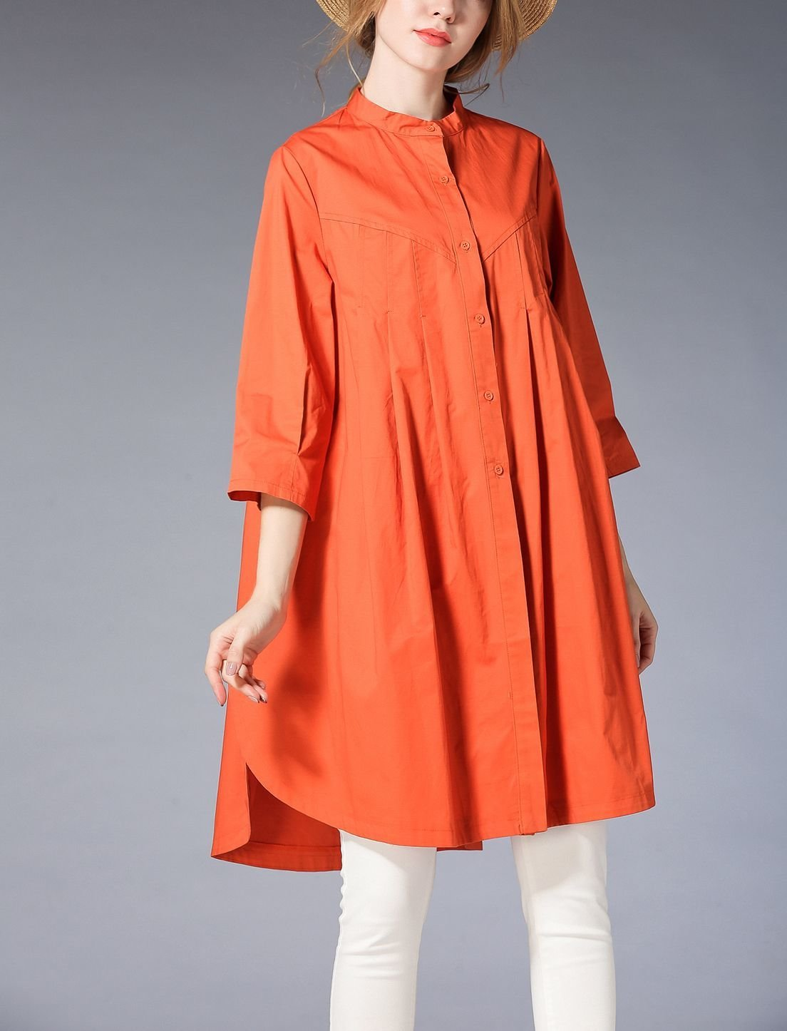 Tent Dress Top with Front Pleats