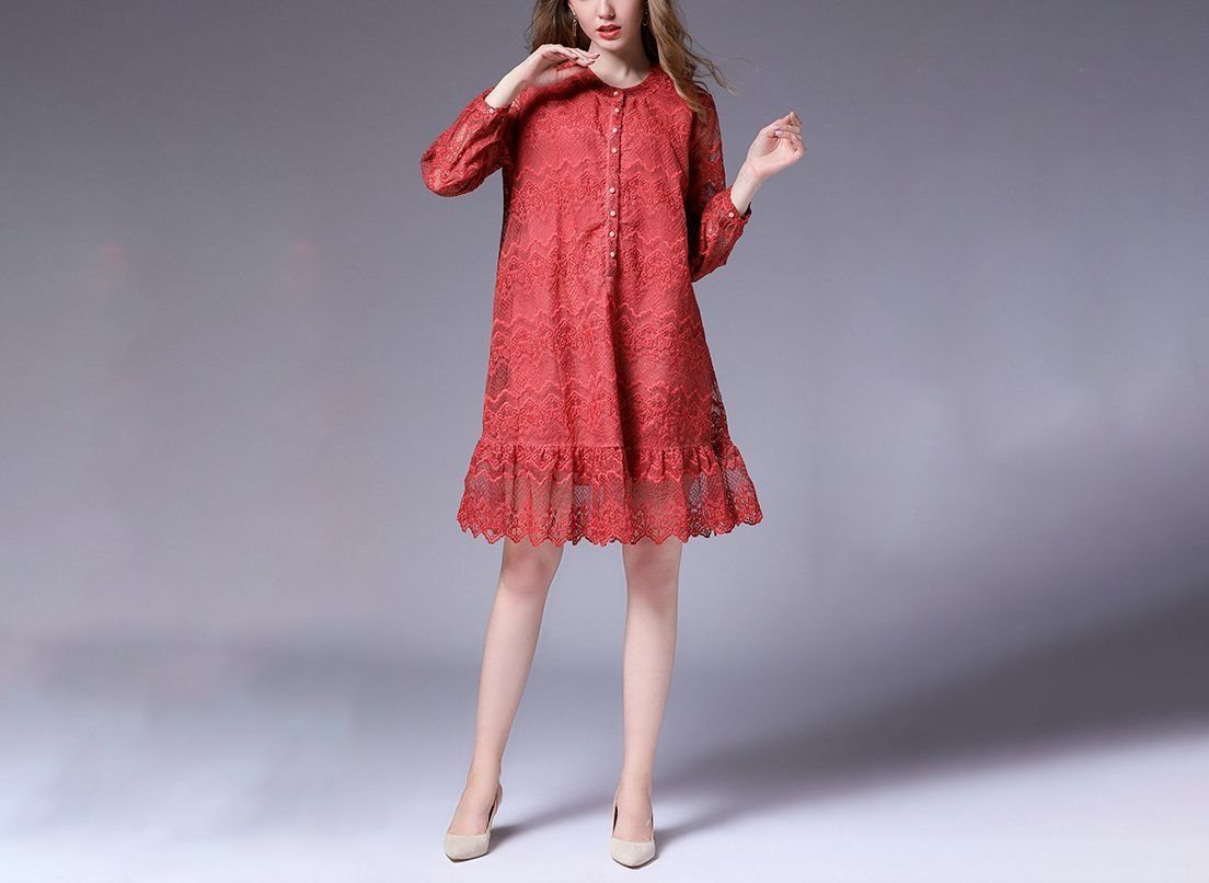 Embroidered Lace Cocktail Dress with Long Sleeves